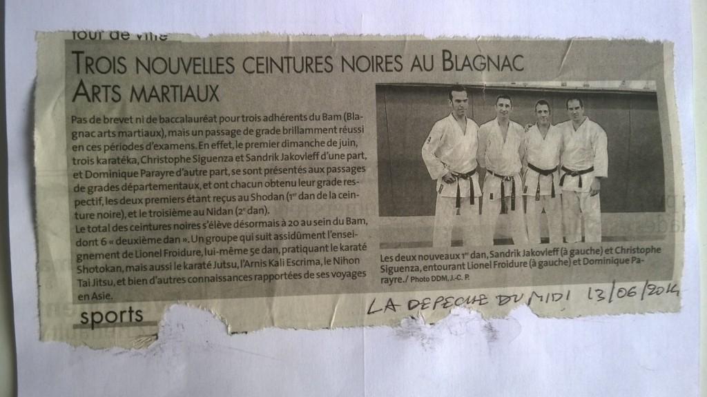 article de presse dépêche karaté blagnac